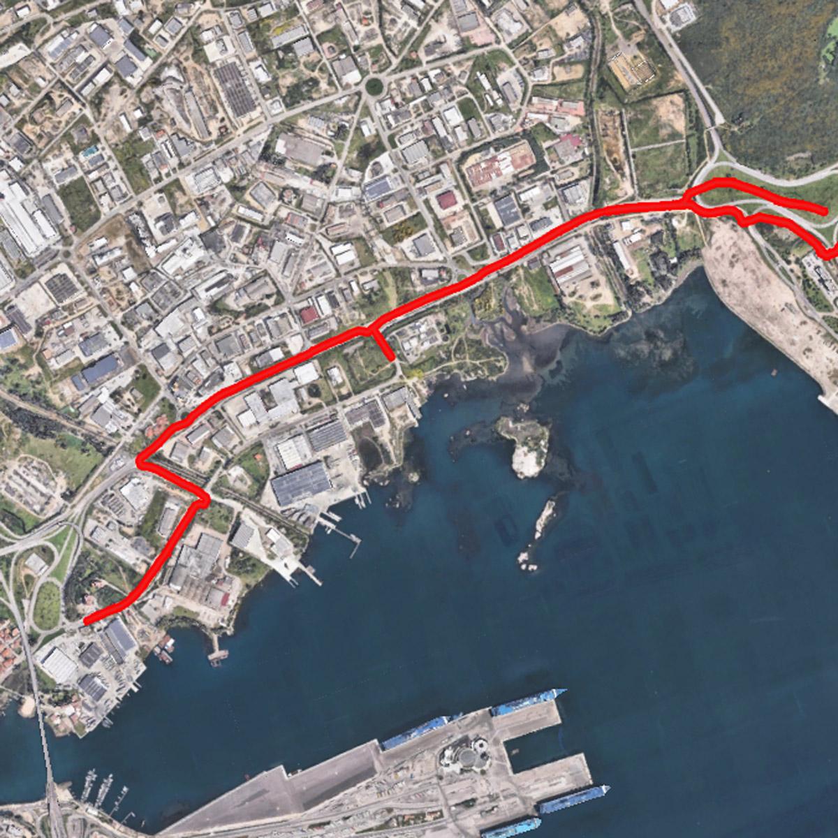 Realizzazione pista ciclabile e running litoranea e impianto fotovoltaico da 2 MWp Zona industriale, Olbia (Italia)
